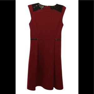 Mossimo cute red flare dress with black lace